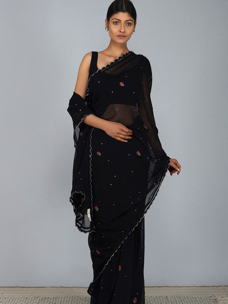 Carnation Black Embroidered Georgette Saree