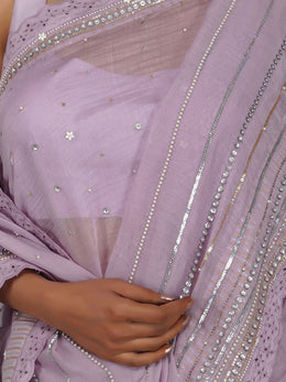 Flirty Sequins Lavender Saree