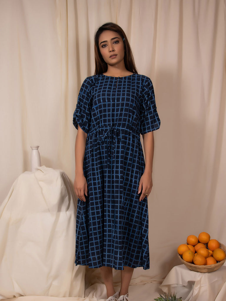 Indigo Checkered Draw-Waist Iris Dress