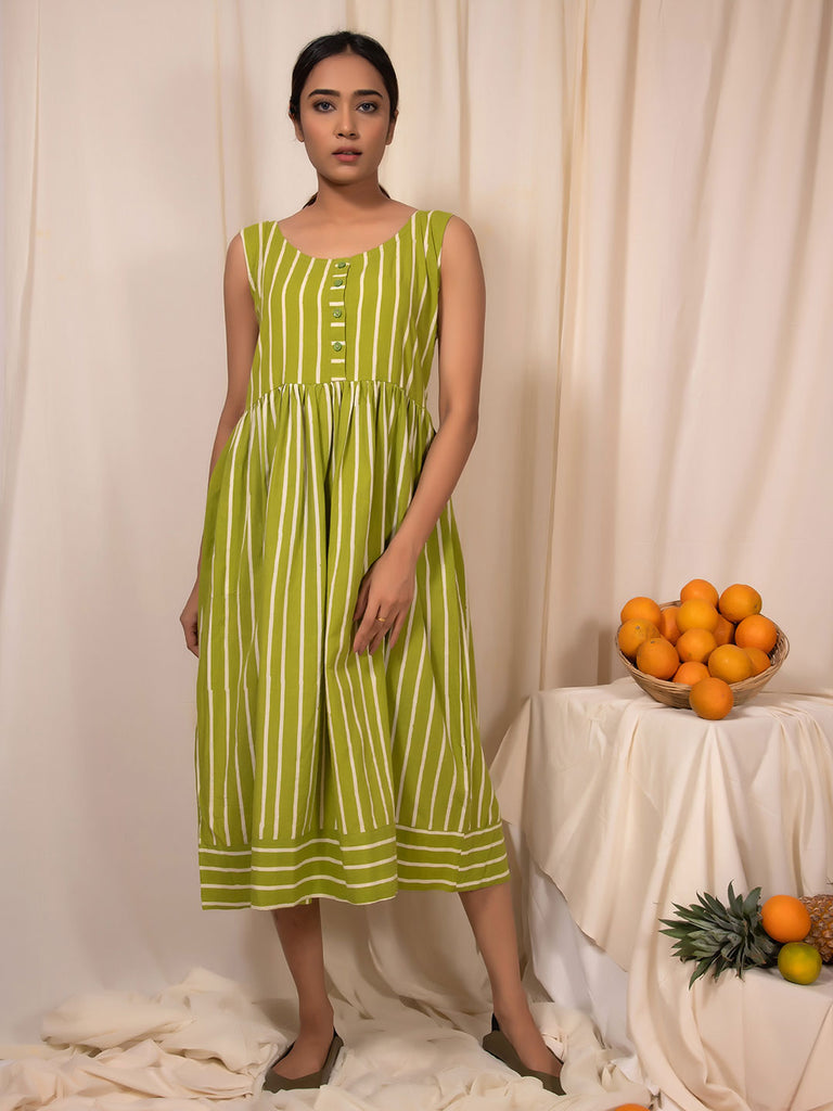Lime Gathered Block Printed Dress