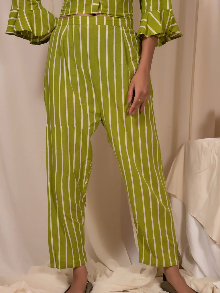 Lime Green Block Printed Striped Pants