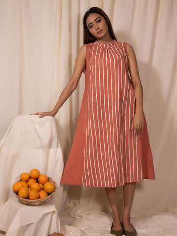 Apricot Striped Band Neck Dress