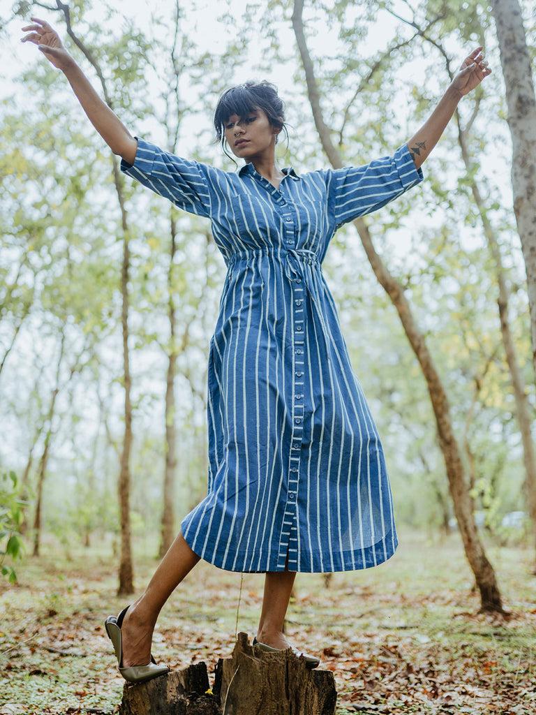 Mist Striped Block Printed Shirt Dress