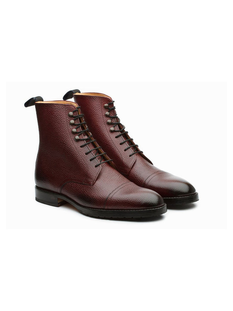 Burgundy Dress Boots in Natural Crust and Grain Leather