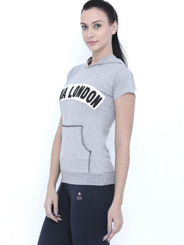 Tuna London Grey Hooded Cotton T-shirt