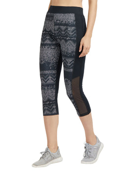 Tuna London Black Printed Sports Capri
