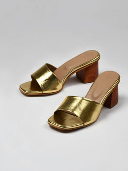 Gold Wooden Block Heels