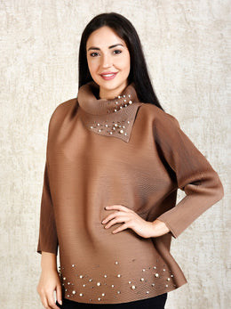Brown Turtle Top with Pearl Embellishments