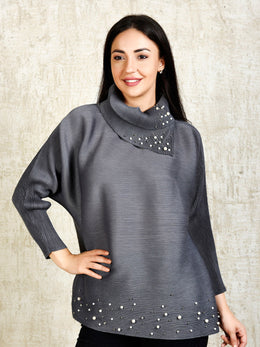 Grey Turtle Top with Pearl Embellishments