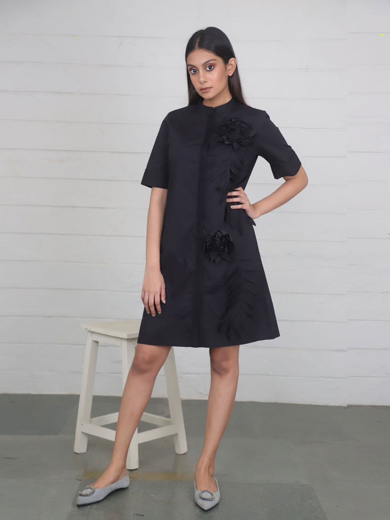 Black Mid Length Cotton Dress with Embroidery