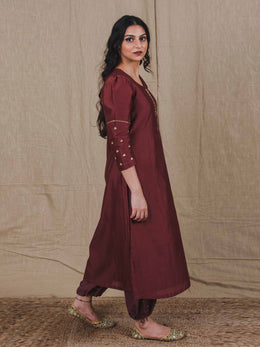 Brown Chanderi Kurta with Sequin Embroidery