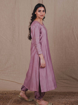 Mauve Chanderi Straight Kurta