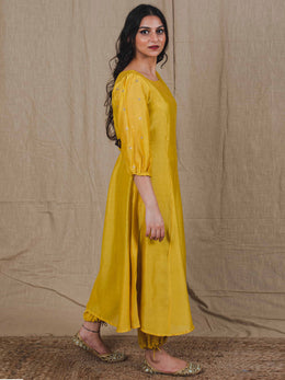 Mustard Yellow Flared Chanderi Kurta