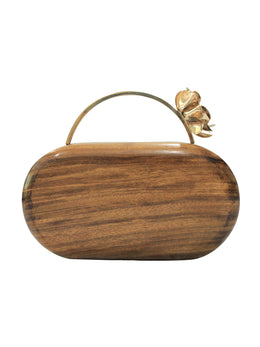 Crafted Wooden Clutch with Flower Handle