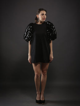 Black Bold Dress with Puffed Shimmer Sleeve