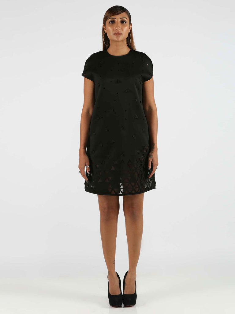 Black 3-D Laser Cut Shift Dress