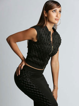 Black 3-D Laser Cut Pencil Skirt