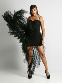 Black Ruffled Cocktail Skirt