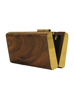 Crafted Wooden Clutch with Brass Plates