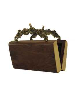 Crafted Wooden Clutch with Antique Brass Handles