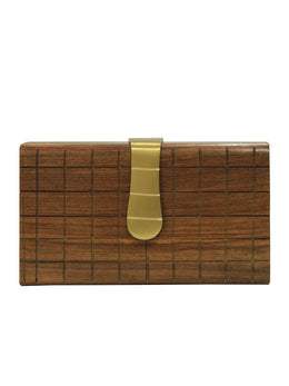 Crafted Checkered Wooden Clutch with Gold Closure