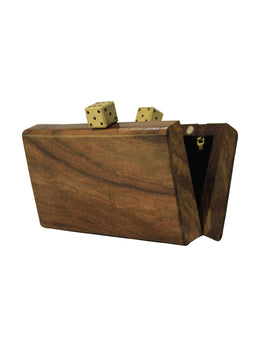 Crafted Wooden Clutch with Dice Knob