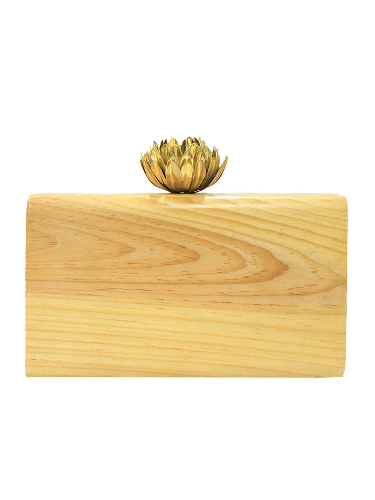 Crafted Wooden Clutch with Lotus Knob