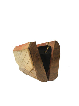 Crafted Wooden Checkered Clutch
