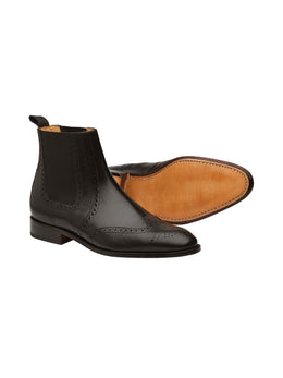Wingcap Brogue Chelsea Black Boots