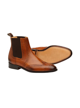 Wingcap Brogue Chelsea Tan Boots