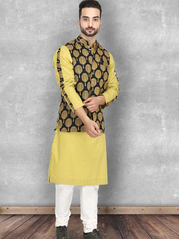 Mustard Tree Print Bundi with Kurta and Churidaar
