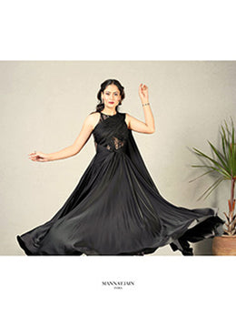 Black Draped Saree Gown