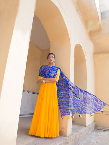 Yellow and Blue Bandhej Gown