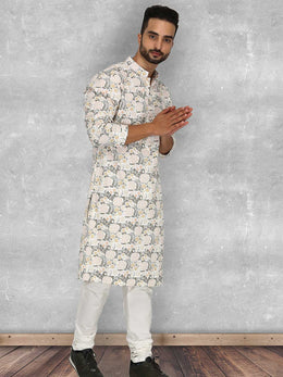 Forestial Floral Print Kurta with Churidaar