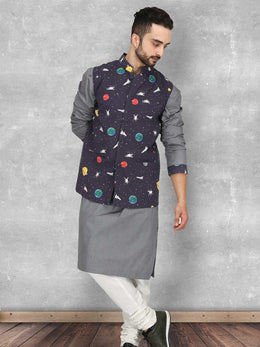 Ash Grey Kurta with Galaxy Print Bandi Set