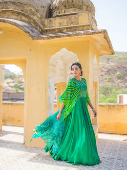 Green Bandhej Gown with Attached Cape