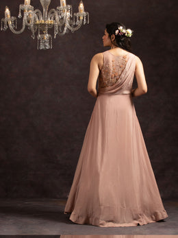 Pink Embroidered A-Line Gown