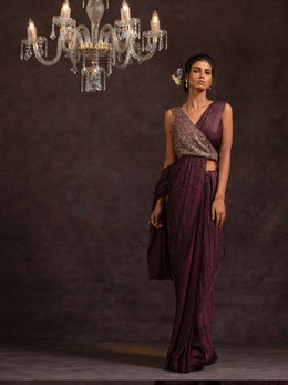 Wine Satin Georgette Saree
