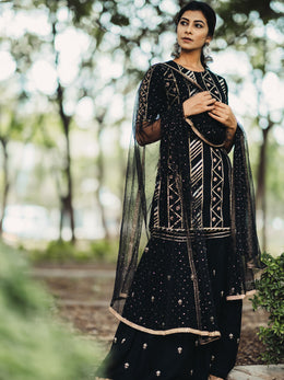 Black Embroidered Gharara Set