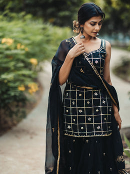 Black Embroidered with Gottawork Gharara Set