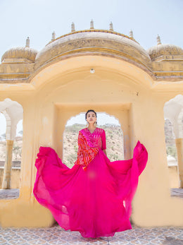 Pink Bandhej Flare Gown with Attached Drape
