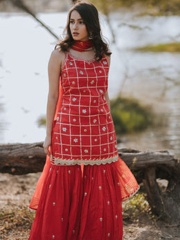 Red Cotton Embroidered Gharara Set
