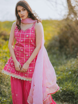 Hot Pink Embroidered Gharara Set