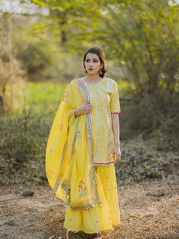 Lime Yellow Cotton Embroidered Gharara Set