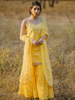 Sunshine Yellow Cotton Embroidered Gharara Set