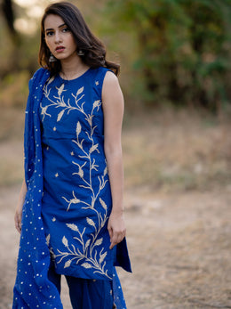 Electric Blue Embroidered Dhoti Set