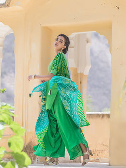 Green Bandhej Kurta with Palazzo, Cape and Belt