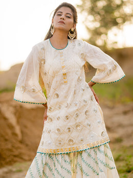 Off White Diagonal Gharara Set