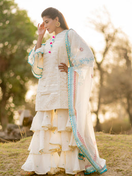 Off White Turquoise Triple Tier Embroidered Gharara Set