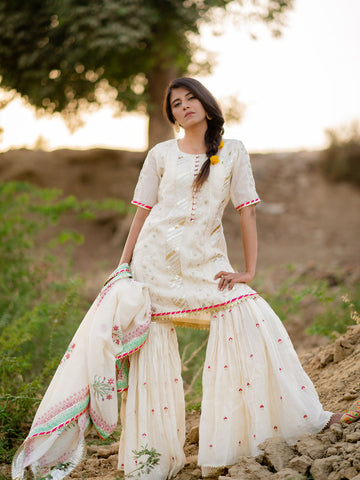 Off White Pink Embroidered Gharara Set